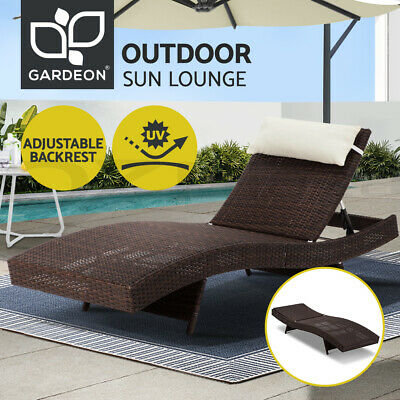 AU161.45 • Buy Gardeon Sun Lounge Outdoor Furniture Setting Wicker Lounger Rattan Garden Patio