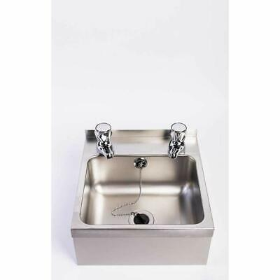 Compact Wall Mounted Stainless Steel Hand Wash Basin Sink And Taps Large Bowl • 89.95£