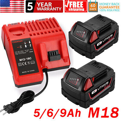 $71.99 • Buy For Milwaukee M18 Lithium XC 6.0 Extended Battery 48-11-1860 Or M18 M12 Charger