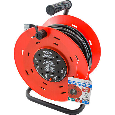 4WAY 5//10//25M CABLE EXTENSION REEL LEAD MAINS SOCKET HEAVY DUTY 10AMP ELECTRICAL
