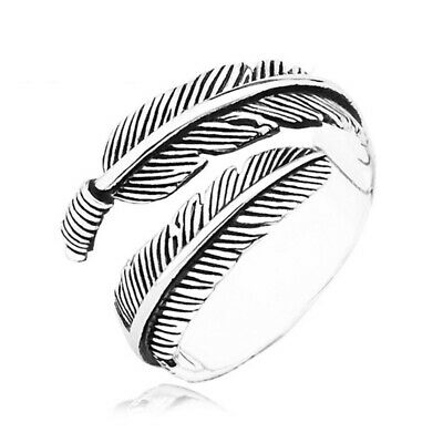 100% 925 Sterling Silver Feather Ring Band Open Finger Fully Adjustable Jewelry • 4.99£
