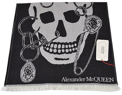AU224.25 • Buy New Alexander McQueen 579728 Black Cream CHAINED BIG SKULL Wool Scarf