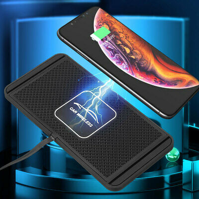 AU26.64 • Buy Qi Wireless Charger Car Pad Mat Phone Holder Mount Non-Slip Charging For Phone