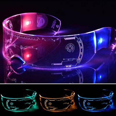 DJ LED Glasses Light Up Glowing Eyewear Rave Party Halloween Cosplay Steampunk • 9.79£
