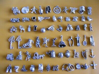 £6.99 • Buy A) Vintage Sterling Silver Charms Charm Boot Train Car Well Bells Clock Car Crab