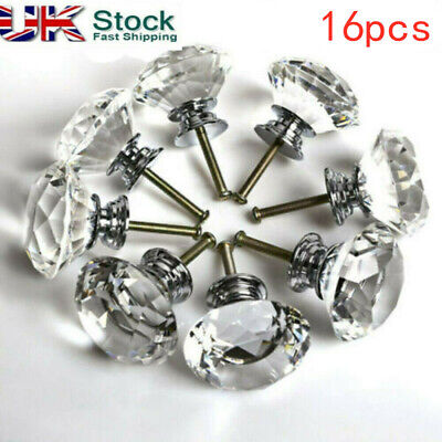 16x 40mm Crystal Diamond Glass Pull Handle Door Knobs Drawer Cupboard Cabinet • 9.99£