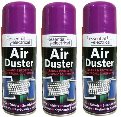 3 X Compressed Air Duster Spray Blower Cleaner Laptop Keyboard Mouse Electronics • 8.99£