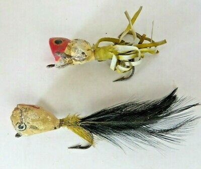 $ CDN13.18 • Buy Vintage Fishing Wood Lures Lot Of 2 Red And White Feather Skirt #F016