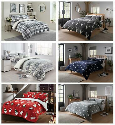 Teddy Duvet Cover Set Soft Printed Stars Stag Quilt Sets Warm Winter Bedding • 21.95£
