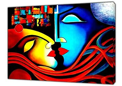 £22.49 • Buy Romantic Couple Abstract Oil Paint Reprint On Framed Canvas Wall Art Decoration
