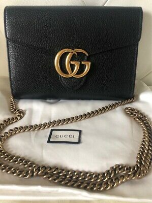 AU1400 • Buy Authentic Gucci Gg Marmont Black Leather Bag