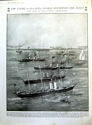 Old Antique Print Yacht Used King Review Fleet Predecessors Osborne 1911 20th • 19£