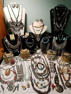 $ CDN130.50 • Buy 80pc SW Style Costume Jewelry Grab Bag Lot Sterling Silverstone Turquoise Stone