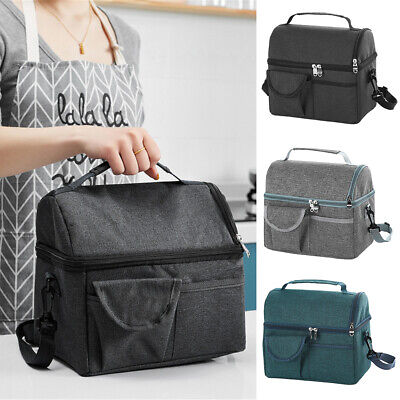 $ CDN20.79 • Buy Large Insulated Lunch Bag Bento Totes Thermal Box Double Decker Bags Portable