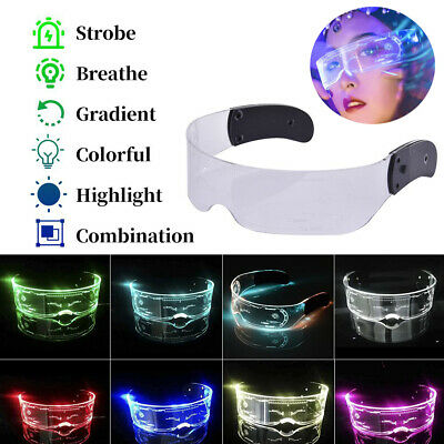 7Color LED Luminous Glasses Neon Nightlife Light Up Goggles For Party Halloween • 9.55£