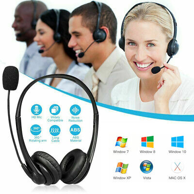 USB Headset Headphones Wired With Microphone MIC For Call PC Computer Laptop UK • 10.19£