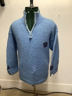 Pachamama Hand Knitted 100% Wool Blue Chunky Knit Jumper Pullover Flower • 12.50£