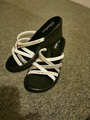 Womens Uk6 USA8,5 Skechers Sandals Slippers Platform Casual Shoes White • 14£
