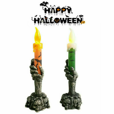 2 PCS Halloween Skeleton Hand Led Lamp Candle Flame Light Stand Lamp Decoration • 5.88£