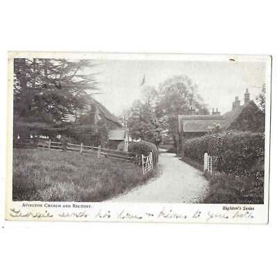 AVINGTON Church And Rectory, Berkshire, Old Postcard Postmarked Hungerford 1906 • 5.95£