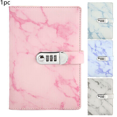 £13.46 • Buy Marbled PU Leather Journal Wired Diary Lockable NoteBook W/ Password Code Lock