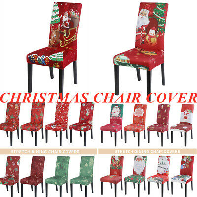 UK Elastic Dining Chair Covers Kitchen Chair Protective Covers Xmas Slipcovers • 3.99£