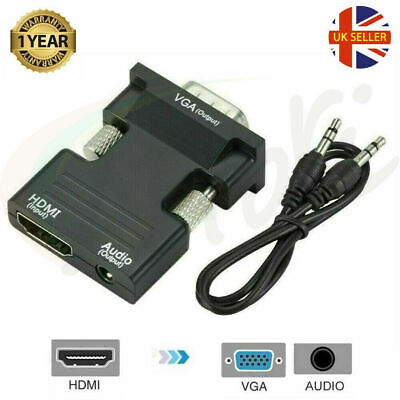 HDMI Female To VGA Male With Audio Output Cable Converter Adapter Lead 1080P UK • 4.49£