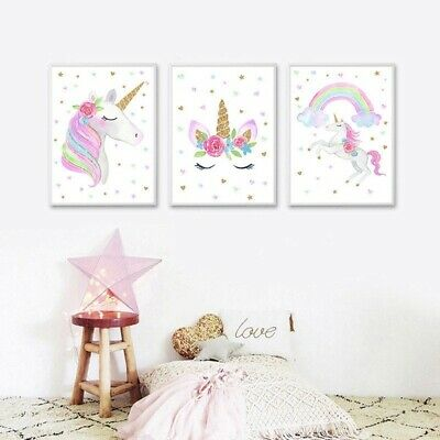£12.97 • Buy Canvas Prints Set Unicorn Posters Baby Girl Kids Room Nursery Wall Art Pictures
