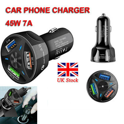 Car Phone Charger 45w 7a Triple Cigar Lighter Usb Port Fast Charge New Uk • 8.19£