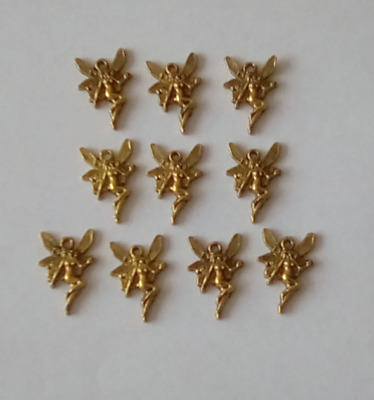 10 X Gold Tone Fairy Charms Size 21x15mm Jewellery Making Crafts • 2.50£