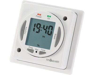 Digital Time Switch 24 Hour/7 Day Compact Immersion Heater Timer Plug Timeguard • 35.87£