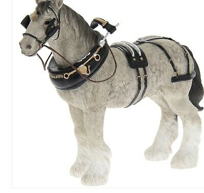 Grey Shire Cart Heavy Horse In Harness Ornament Figurine Quality Leonardo Boxed • 16.95£