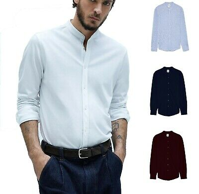Men's Grandad Collar Casual Pique Shirt Long Sleeve Shirts RH06 • 11.99£
