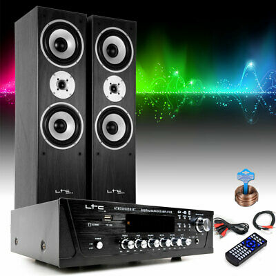 Home Music Stereo System Bluetooth USB MP3 Amplifier Stand Speakers • 205.17£