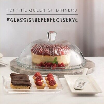 £16.95 • Buy Pasabahce Glass, Designer Cake Plate With Dome Lid, Transparent Elegant Look 32c