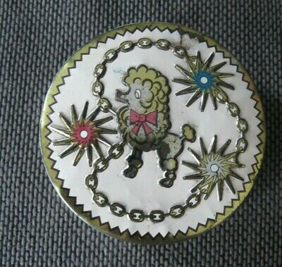 Small Vintage Tin With Poodle Design Kitsch Retro Sweet Tin 3  Diameter Approx • 2£