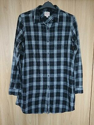 Womens Black/White/Silver Checked Flannel Cotton Tunic Shirt Size L • 5£