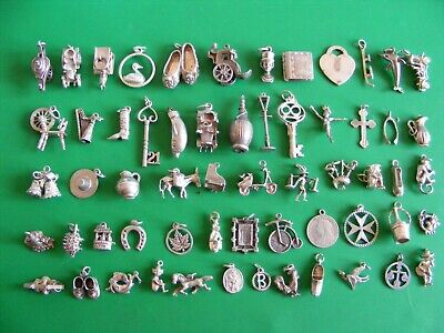£6.99 • Buy C) Vintage Sterling Silver Charms Charm 18 21 Key Cross Hat Bells Crab Boot Harp