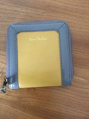 New JANE SHILTON GREY YELLOW PURSE WALLET NEW 12x12cm • 4.50£
