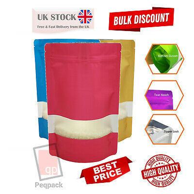 Window Matt Finish Foil Stand Up Pouches Mylar Food Grade Zip Lock Heat Seal Bag • 7.60£