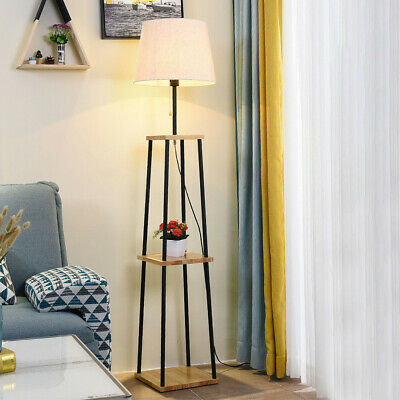 AU150.49 • Buy Tripod Floor Lamp Standing Lamp W/ 3-Tier Shelves Foot Switch E27 Lampshade Base