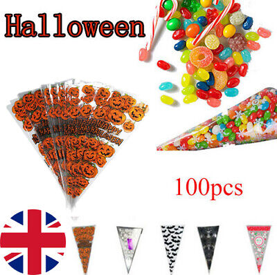 100pcs Plastic Candy Cone Pouch Halloween  Popcorn Cookies Storage Bags UK • 5.99£