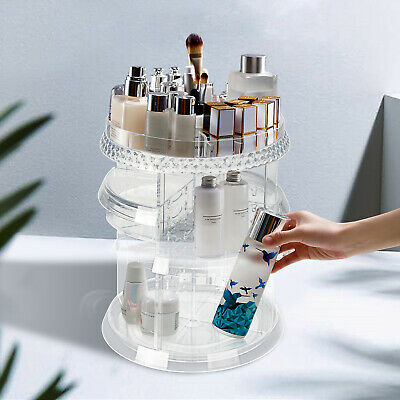 Make Up Cosmetic Organizer Storage Box Shelf 360  Degree Rotating Display Stand • 7.99£
