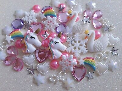 Christmas Embellishment Mix UNICORN SWAN SNOWFLAKE Rainbow Star Flat Back 70pcs  • 3.95£