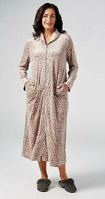 Taupe Carole Hochman Velour Dressing Gown Robe With Shawl Collar - Small - New • 27.99£