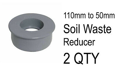 2 X 110mm To 50mm Push Fit Soil Waste Reducer Adaptor Grey Water Pipe Connector  • 4£