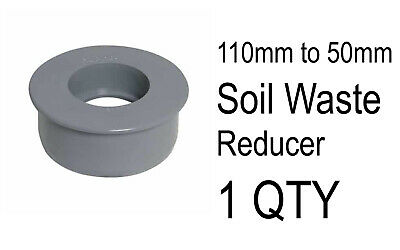 1 X 110mm To 50mm Push Fit Soil Waste Reducer Adaptor Grey Water Pipe Connector  • 2.50£