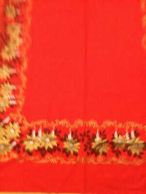 $ CDN19.99 • Buy Vintage Red Christmas Tablecloth Gold Poinsettias, Silver Candles, 56x87, MINT