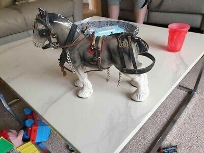 VINTAGE 1960s LARGE  GLAZED CHINA SHIRE HORSE STATUE/ORNAMENT • 5£