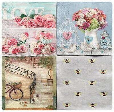 8x Paper Napkins Decoupage/craft Mix Garden Flowers Bee French Vineyard • 2.95£